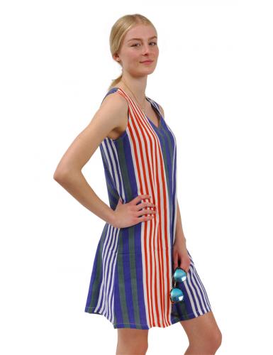 Robe rayée Rouge/Bleu/Gris, col V, sans manches, rayonne, SMLXL