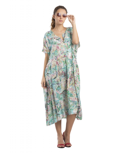 Robe très ample Feuillages, col 5 boutons, taille smockée, viscose, TU