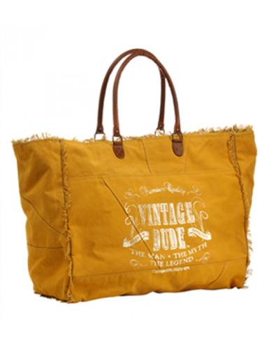 """Sac XL toile Ocre """"Vintage Dude"""" anses et étoile cuir, frangé (52x42x24 cm)"""