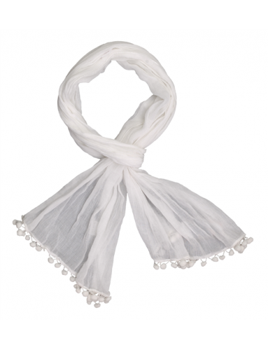 Echarpe coton Blanc, pompons (50 X 180 cm)