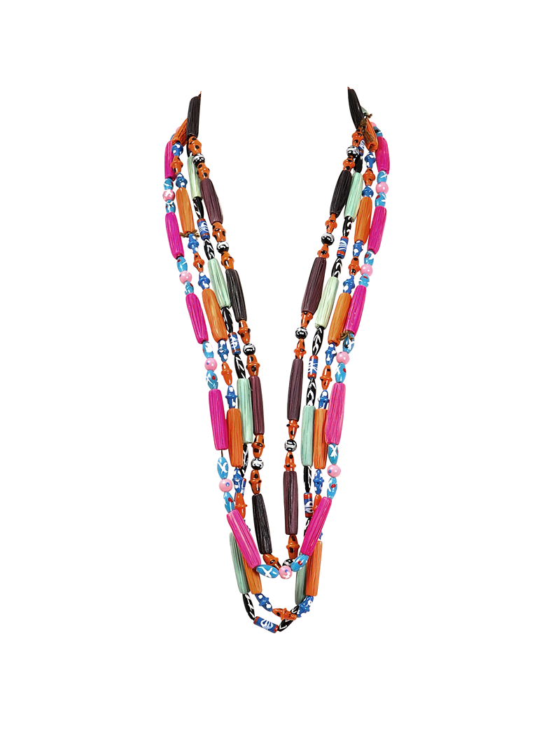 Collier perles et raffia multicolore assorti