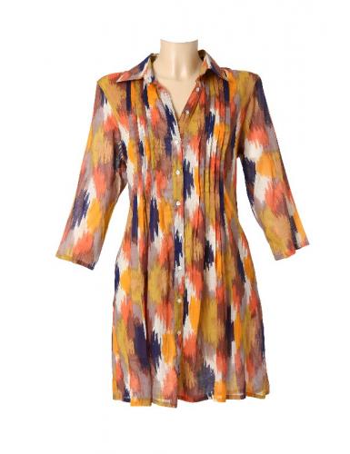 Tunique coton Multi Colors, toute boutonnée, col chemise M/L/XL