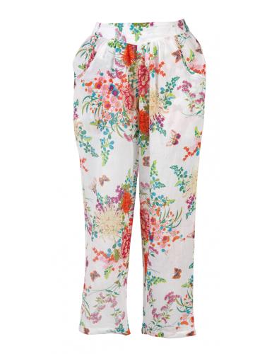 Pantalon Bermudes Blanc élastique, 2 poches, coton, SMLXL