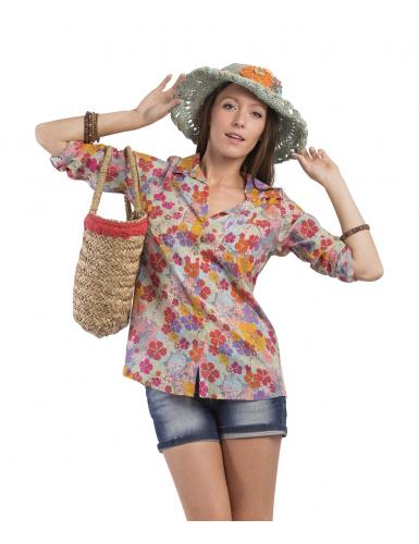 """Chemisier """"magic flowers"""", 2 poches, boutonné, coton SMLXL"""