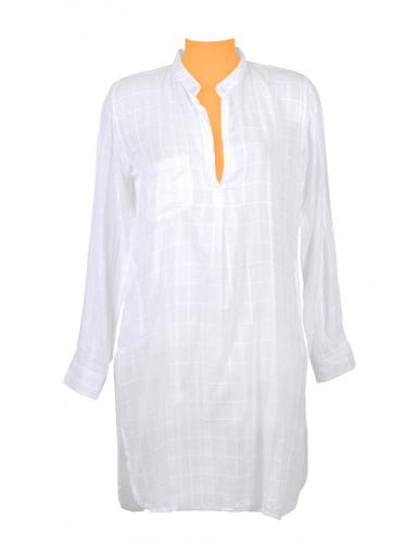 Tunique longue carreaux unis Blanche, col ouvert, 1 poche, plis dos, coton