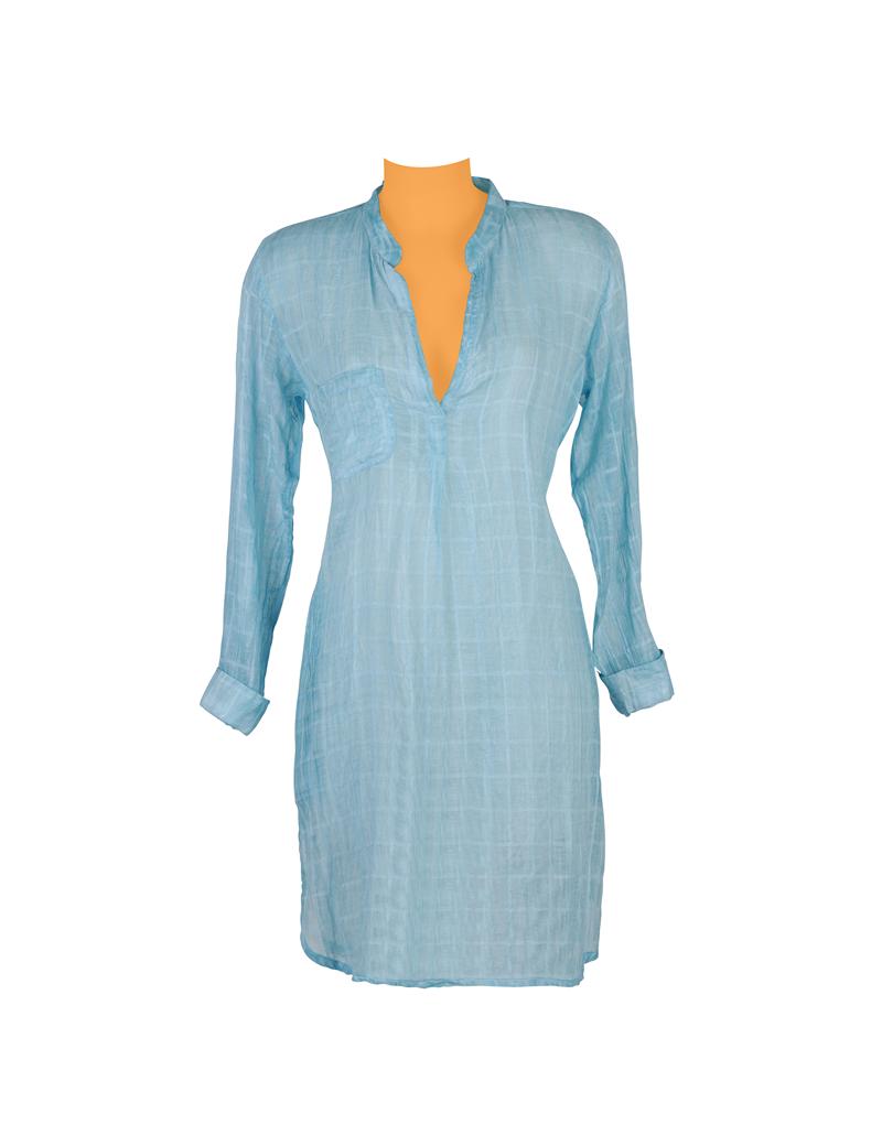 Tunique longue carreaux unis Turquoise, col ouvert, 1 poche, plis dos, coton