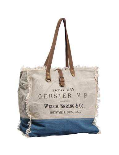 "Grand sac""Gerster"" Beige/Jean, anses cuir, frangé, 1 patte cuir, zip (45x35x20)"