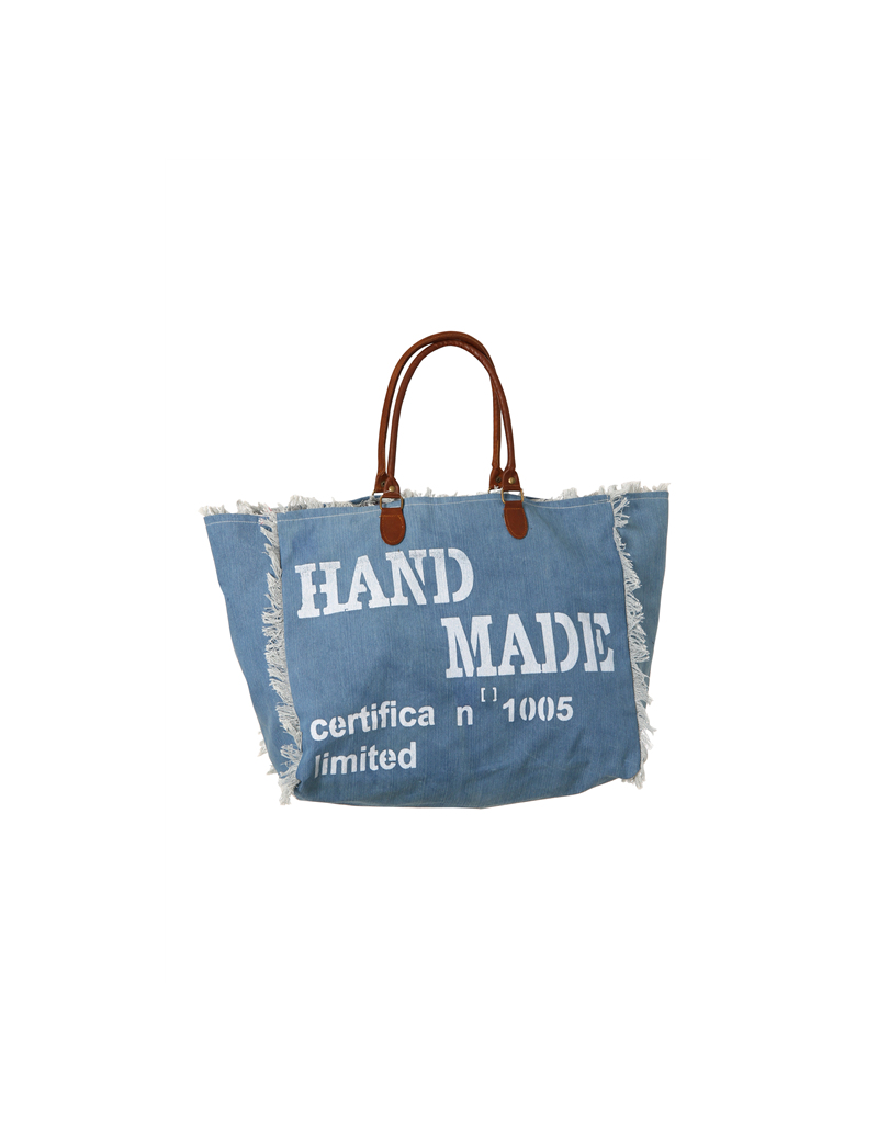 "Sac toile jean, ""Hand made"", frangée, anses cuir (50x40 cm)"