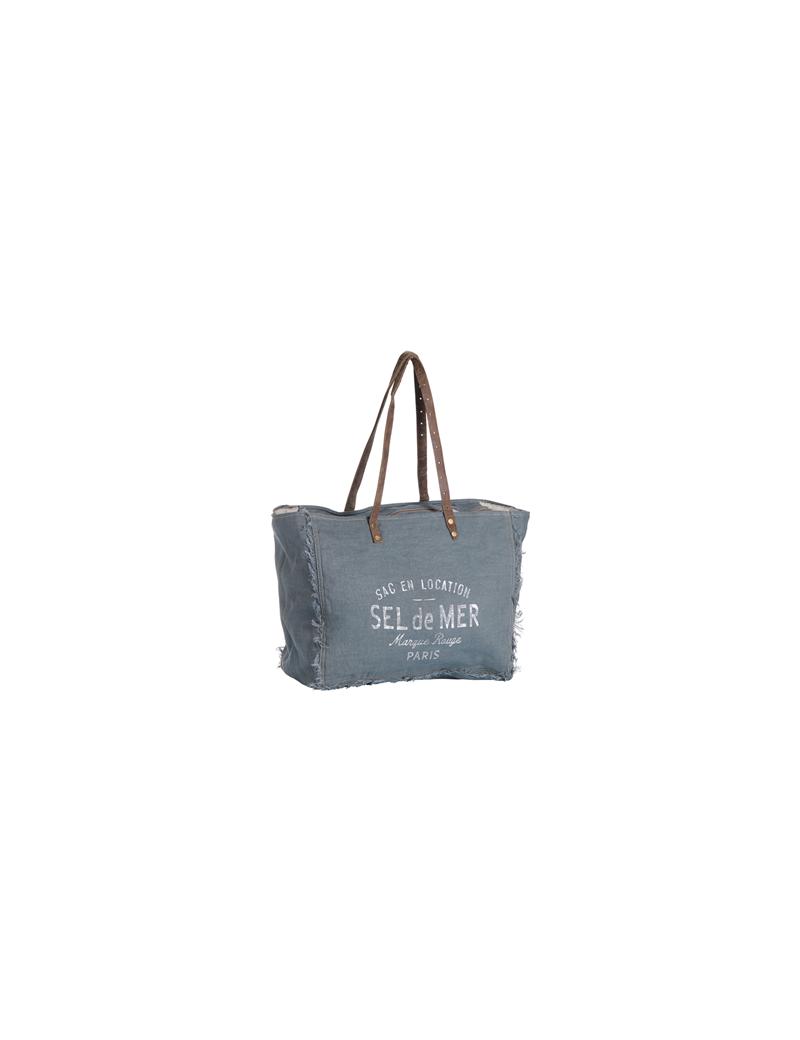 """Sac L """"Sel de Mer"""" Gris/Bleu lin/coton frangés, anses cuir plates, zip 41*32*20"""