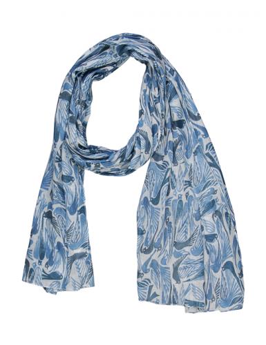 Echarpe coton Ecrue/Bleue, impression Oiseaux (53*180 cm)