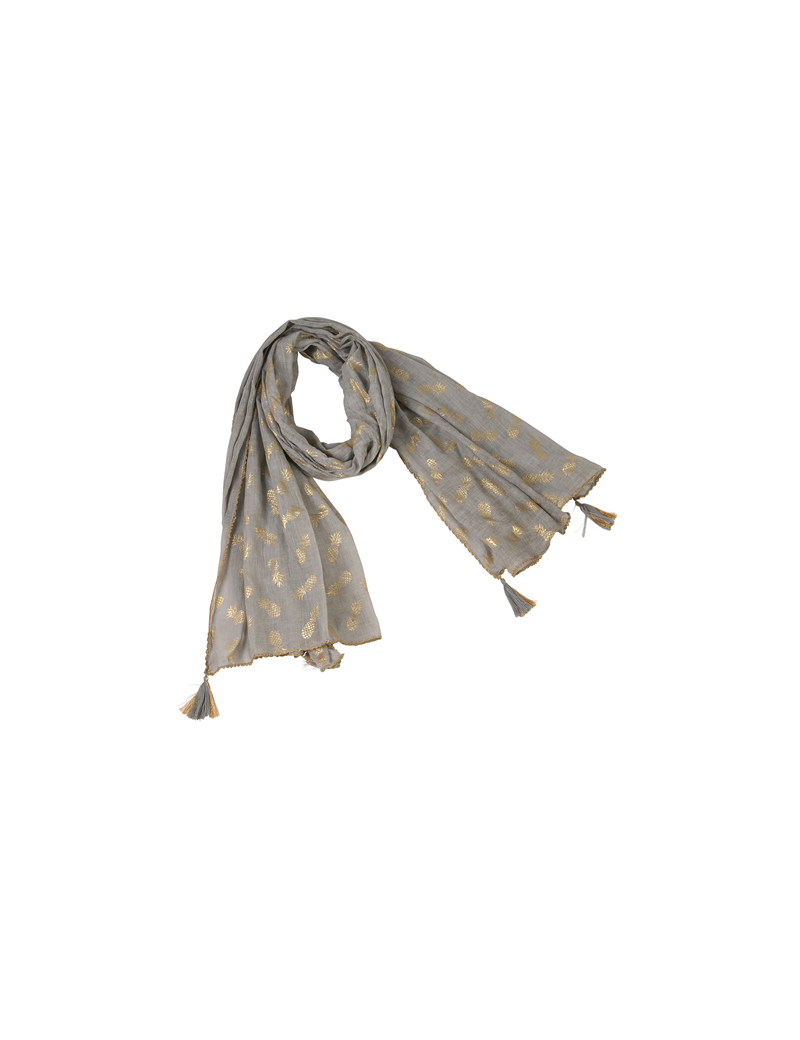 Paréo taupe impressions ananas gold, bords festonnés, pompons, coton (100x180c