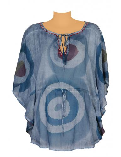 Kaftan courte Cercles Bleus, ceinture lien, col déco perles, coton, TU