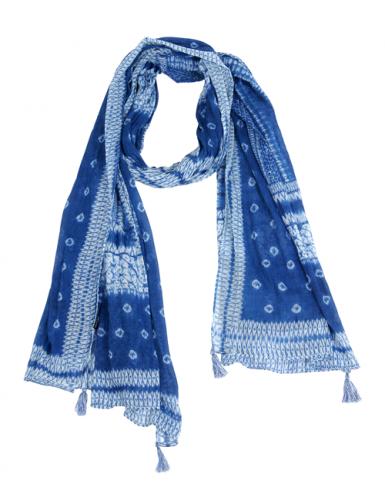 """Echarpe/paréo """"Géométrie Bleu"""", pompons, coton, 100*180 cm"""