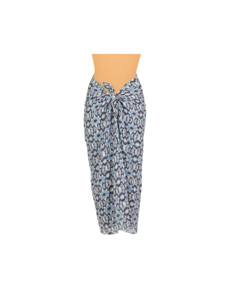 Paréo coton Hillary Ciel/Brun, 110*180 cm