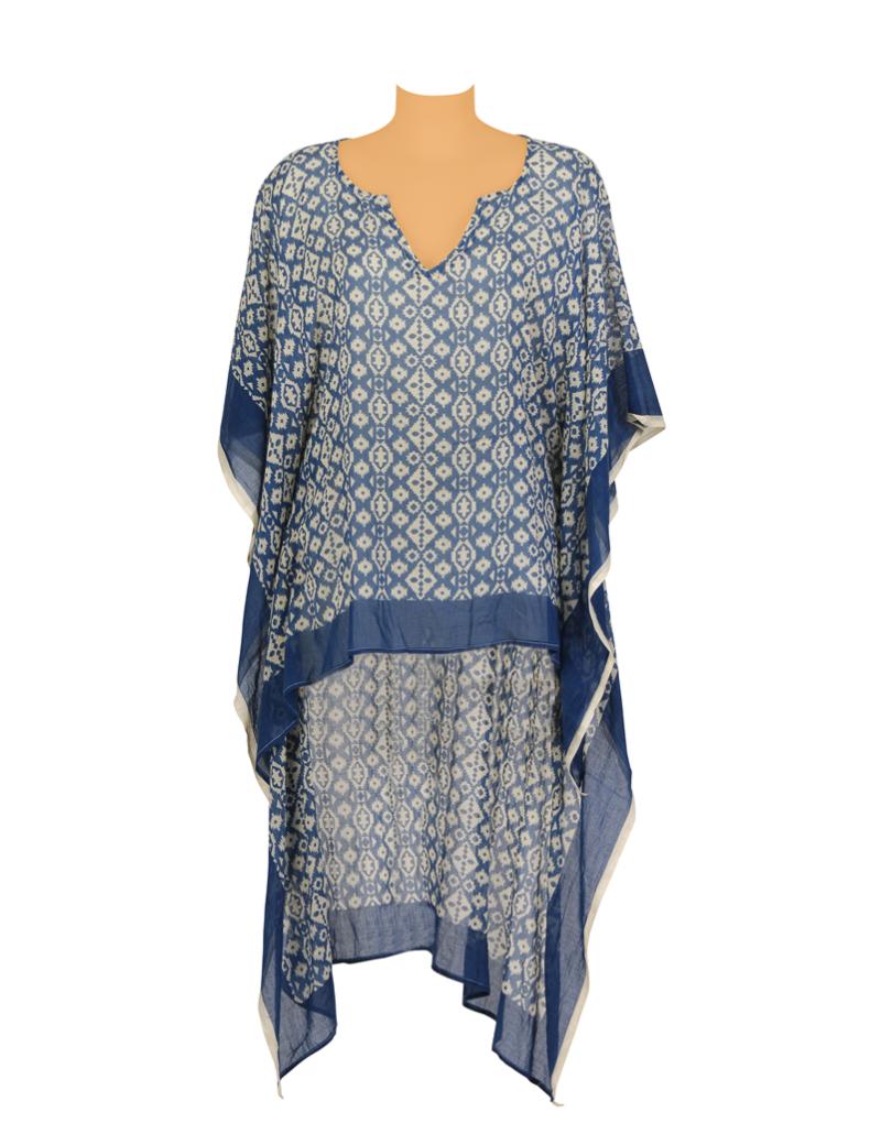 Kaftan Bleu/Ecru, court devant long derrière, coton, TU