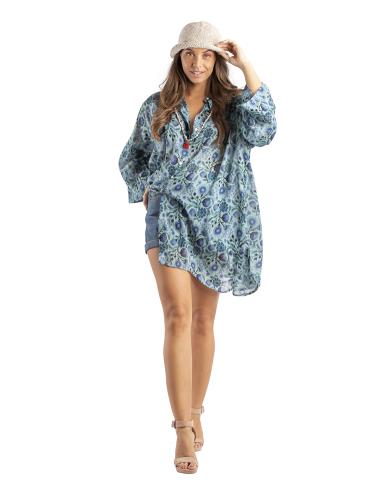 Chemise ample janet bleu ,boutonnage avant/faux arrière,découpe base