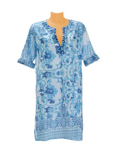 Tunique longue coton imprimé ciel/blanc décor perles, col V (S-M-L-XL)