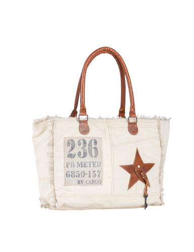 "Sac toile beige M ""236"" anses cuir, doublé,zip, 37x28x13"