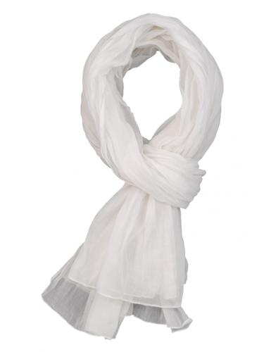 Echarpe coton froissée, Blanc (100 X 180 cm)
