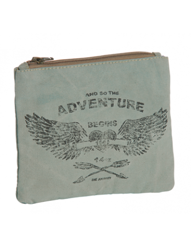 "Pochette ""Adventure"" Aqua, zip, coton (20*16 cm)"