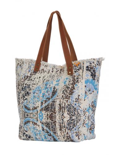 Sac écru impression Batik Bleu/Beige, anses simili cuir, zip, doublé, coton