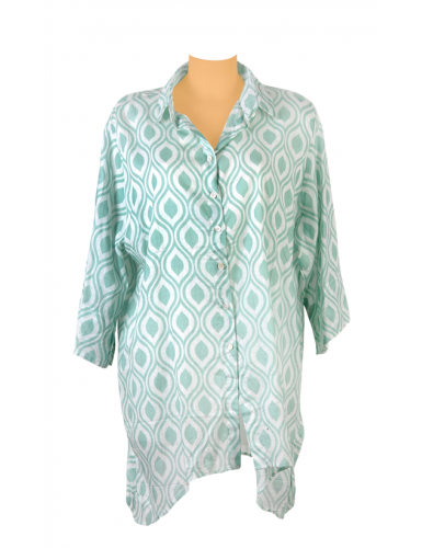 Chemise ample Diva vert d'eau, boutonnage avant et faux arrière, découpe base