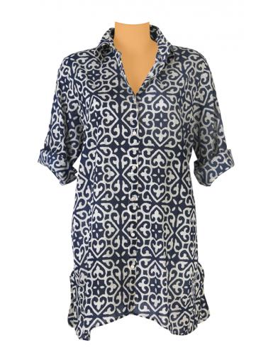 """Chemise ample """"Irène Navy"""", boutonnée, faux boutons dos, coton (S M L XL)"""