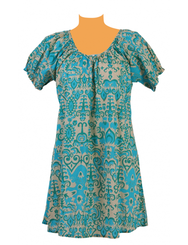 Robe courte fond Beige arabesque Turquoise/Vert,col rond 1 bouton,manches ballon
