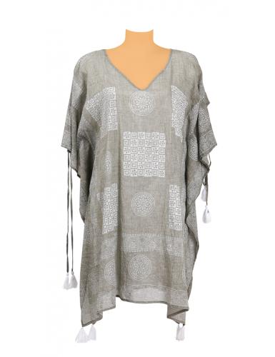 Kaftan Taupe motifs Blancs, découpes bras, liens, coton TU